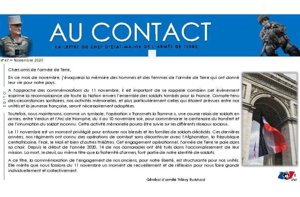 Au CONTACT – La lettre du Chef d'Etat-Major de l'Armée de Terre – Commémoration du 11 Novembre