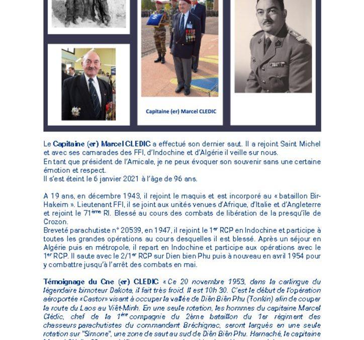 Décès du Capitaine (er) Marcel CLEDIC – 6 janvier 2021
