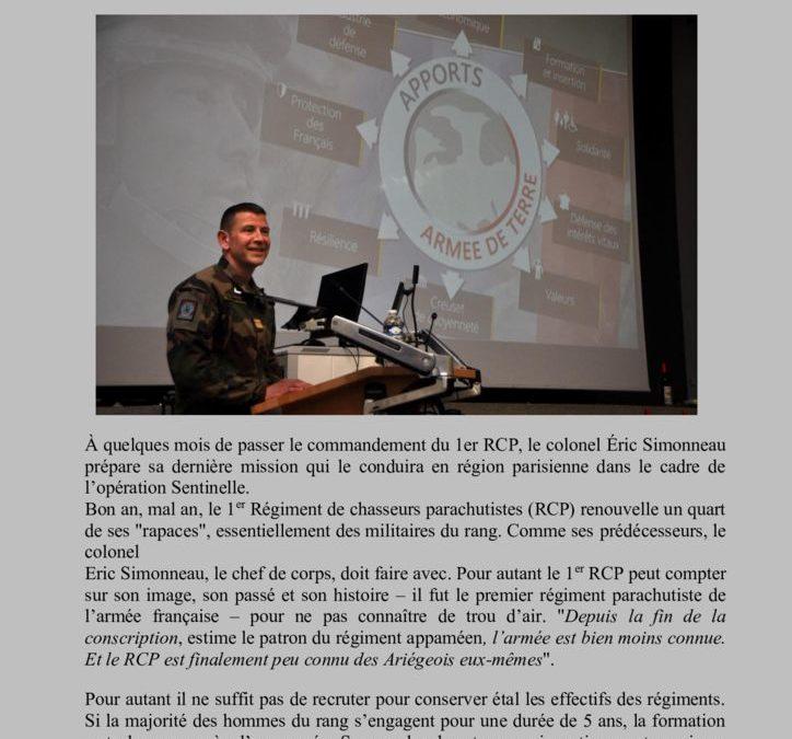 Actualités du 1° RCP – Sentinelle