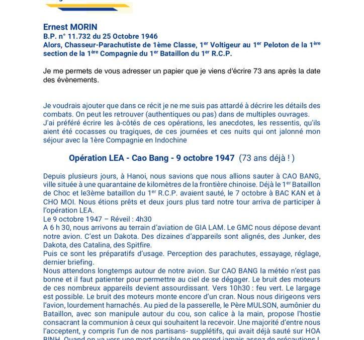 Ernest Morin – Témoignage Opération Léa – Cao Bang